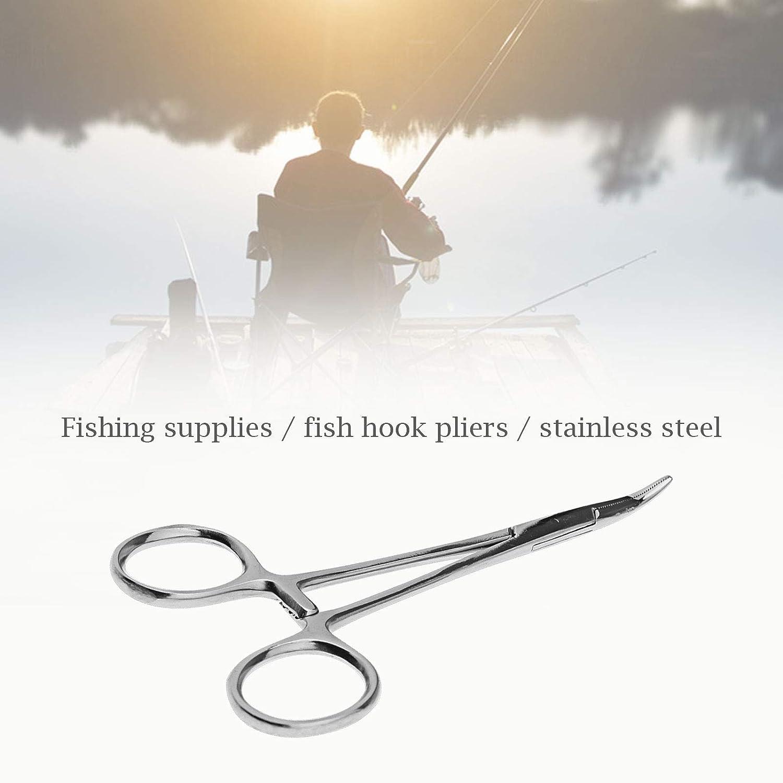 3-stufige Verriegelungsklemme Angelhaken-Zangen-Set Pinzette zum Fliegenfischen gebogen und gerade 2 St/ück