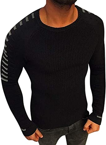Mancave Men Rib Knit Patch Details Round Neck Close Fit Full Sleeve Sweater