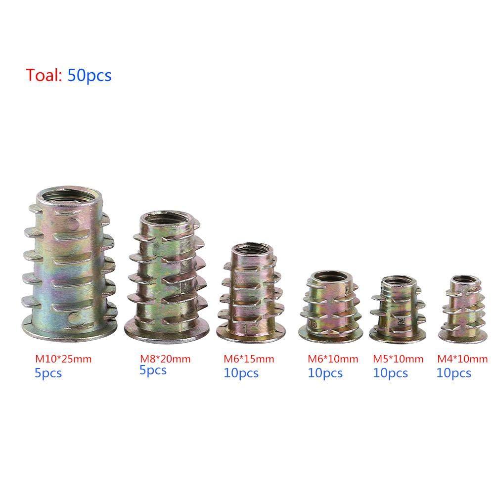 Zinklegierung 50 Stk M 4//M 5//M 6//M 8//M 10 Einschraubmutter Einschraub-Sechskant-Einschraubmuttern-Sortiment