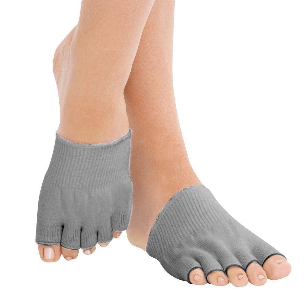 Gel-lined Compression Toe Separating Socks Heel Pain Relief Moisturising Open Toe Comfy Recovery Socks (Grey 1 pair) Medium