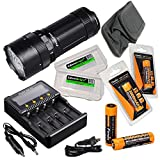 FENIX FD65 focus adjustable 3800 Lumen CREE neutral white LED Flashlight, 4 X Fenix 18650 ARB-L18-3500 rechargeable batteries, ARE-C2+ battery charger with 2 X EdisonBright BBX3 battery cases bundle