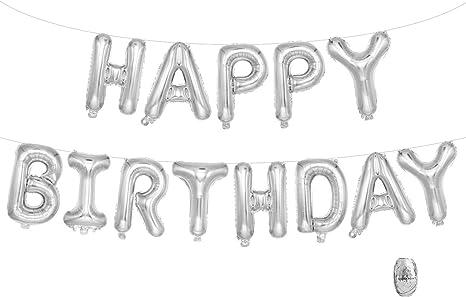 Silver Adorox 16 Inches Happy Birthday Metallic Aluminum Foil Birthday Balloon Banner