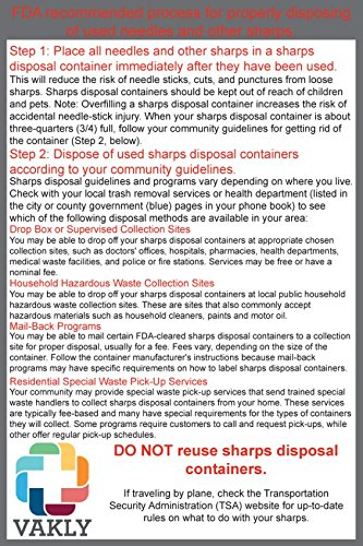 Sharps Container 1 Quart - Plus Vakly Biohazard Disposal Guide (5 Pack) by Vakly (Image #2)