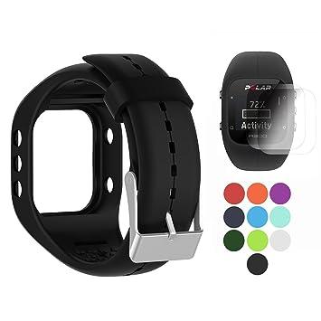 TUSITA Polar A300 Banda con Protector de Pantalla, Sustitución de Silicona Correa Brazalete Wristband Accesorio para Polar Smart Watch