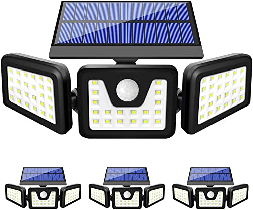 Solar Lights Outdoor, FURANDE Solar Motion Sensor Light Outdoor IP65 Waterproof 270 Wide Illumination 3 Adjustable Heads 70 LED Security Flood Light for Yard Patio Garage Entryway Front Door