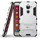 Heartly LeEco Le 2 Back Cover Graphic Kickstand Hard Dual Rugged Armor Hybrid Bumper Case - Champagne Silver