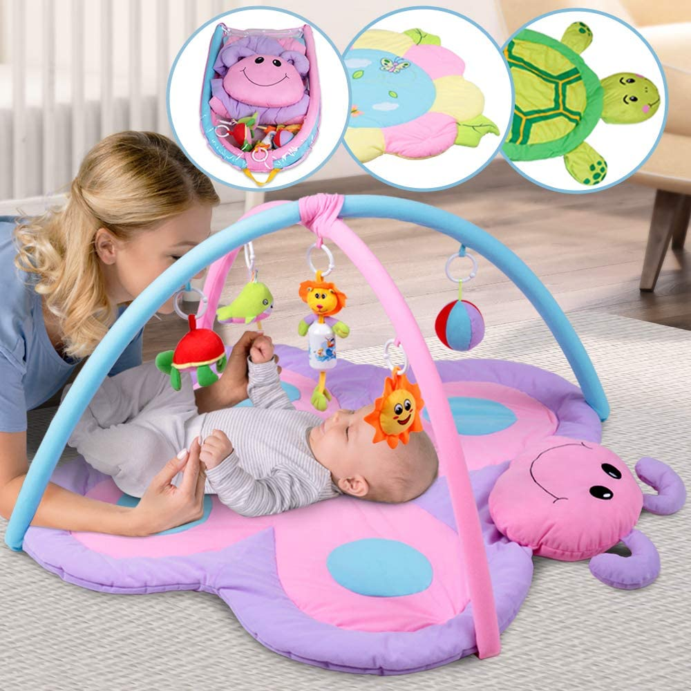 Infantastic Alfombrilla de Actividades para Bebés - Elección de Tamaño y Diseñocon, 5 Juguetes Colgantes Extraíbles - Manta Actividades Bebe, Gimnasio con Alfombra