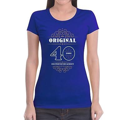 Geburtstag 40 Jahre - Original Zur Perfektion Gereift Geschenk Frauen T- Shirt Slim Fit: Amazon.de: Bekleidung