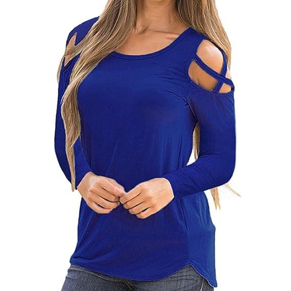 Fossen Mujer Camisetas de Manga Larga Strappy Hombro Frío Sólido Blusas Camisa Tops (S,