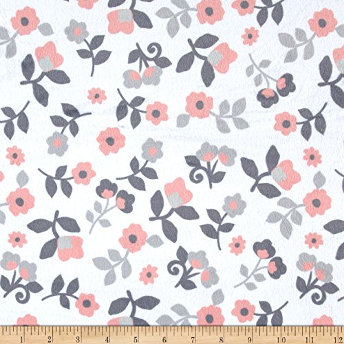 E.Z Fabric Minky Kashmir Floral Fabric by The Yard, White/Coral