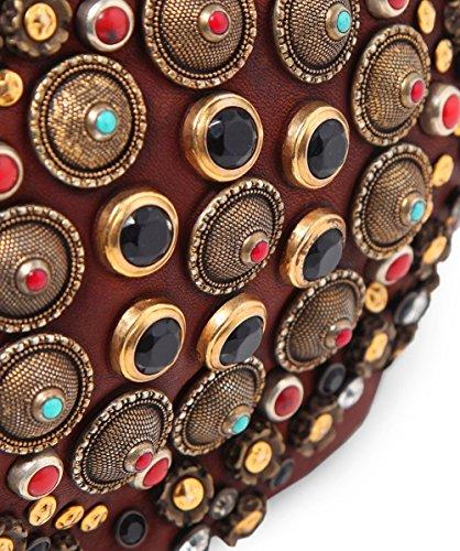 Campomaggi Mujeres bolso de cuero adornada de bowling Coñac Coñac