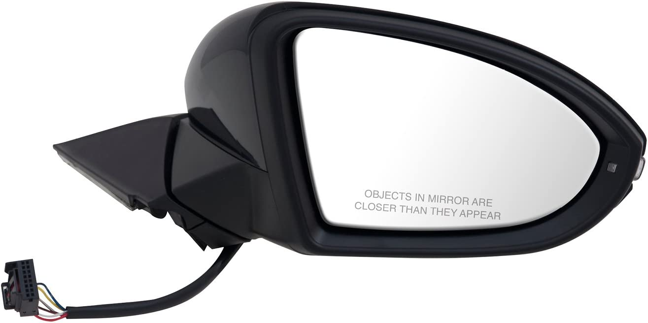 Foldaway w//o Puddle lamp w//Turn Signal w//o Memory Heated Power Fit System Passenger Side Mirror for Volkswagen Golf Textured Black w//PTM Cover