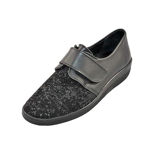 Zapato Velcro, Pala elástica, Especial juanetes y Dedos Martillo, con Plantilla extraíble.