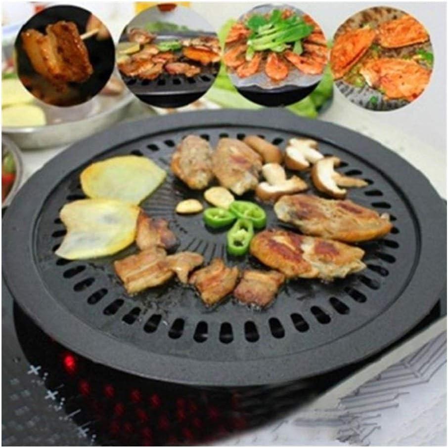 Cfbcc Hierro Redondo Korean BBQ Grill Barbacoa Placa Antiadherente Pan fijado con el Titular de Ajuste sin Humo Saludable Asar al Aire Libre Que Cocina la Herramienta