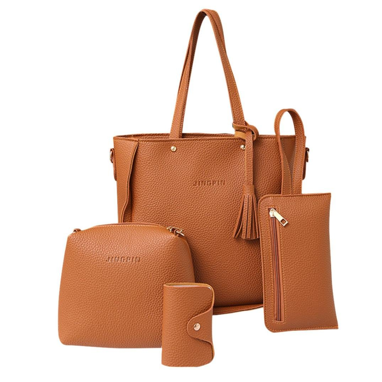 Clearance! Women Four Set Handbag, Neartime Solid Color Shoulder Bags Open Single Tote Bag Versatile Crossbody Wallet (Shoulder Bag:24cm(L)26.5cm(H)11cm(W), B-Brown)