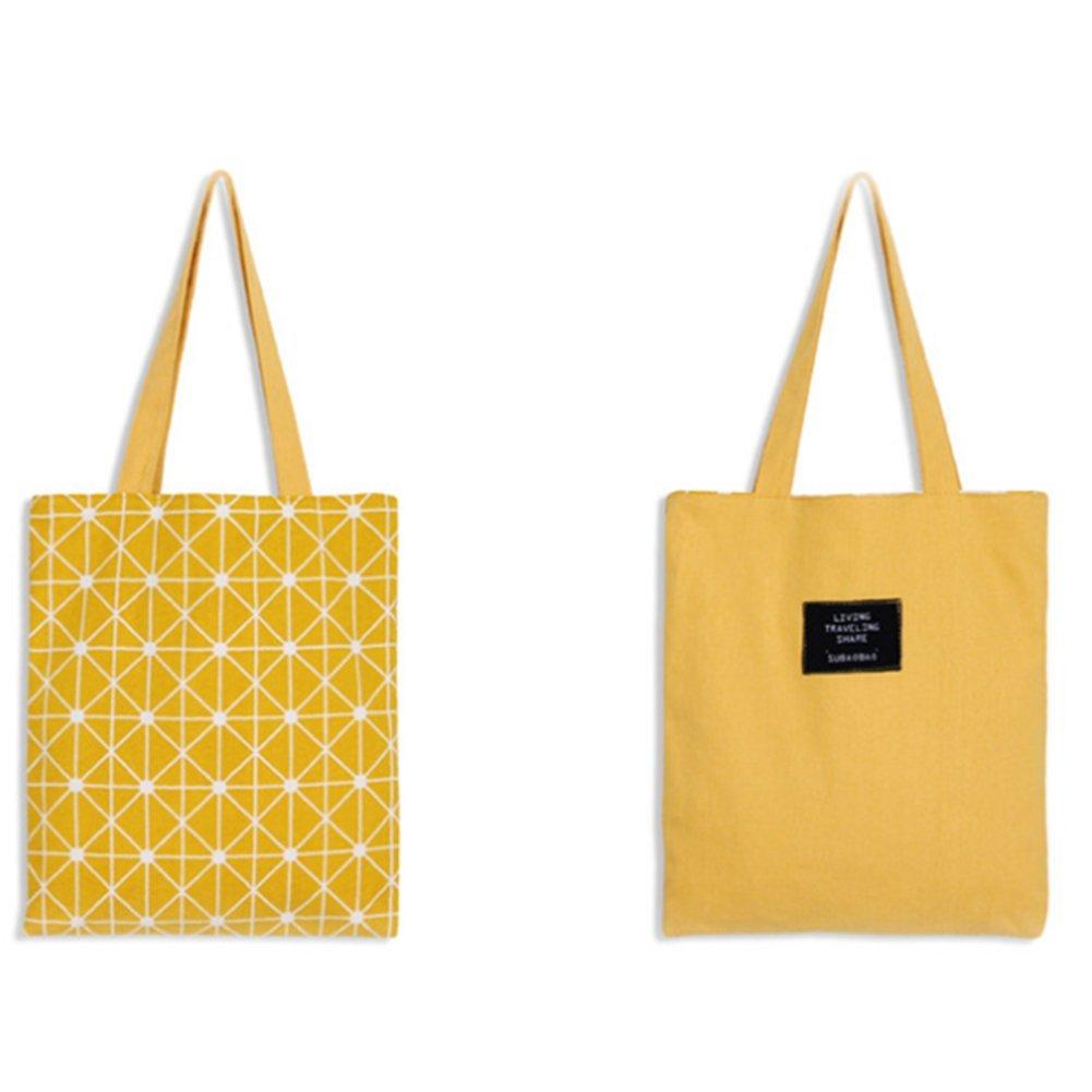 Scrox 1pcs Bolsas de Tela Diseñ o de Doble Cara Canvas Tote Bag Original Bandolera Mujer Bolsa Reutilizable Compra Algodó n y Lino Bolsa de Almacenamiento (Amarillo)