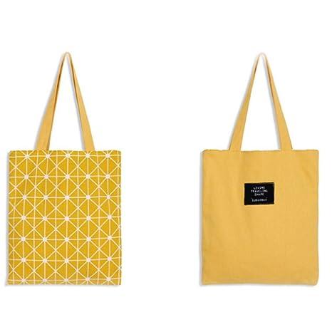 Scrox 1pcs Bolsas de Tela Diseño de Doble Cara Canvas Tote Bag Original Bandolera Mujer Bolsa Reutilizable Compra Algodón y Lino Bolsa de ...