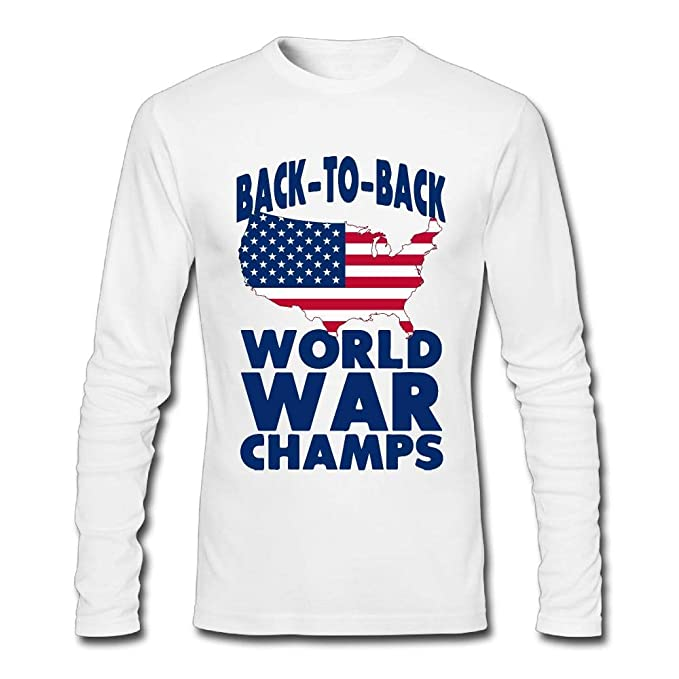 b4990bce6 Amazon.com: Back to Back World War Champs 1 Mens Classic Clothes Tops  Crewneck Long Sleeve T-Shirt: Clothing