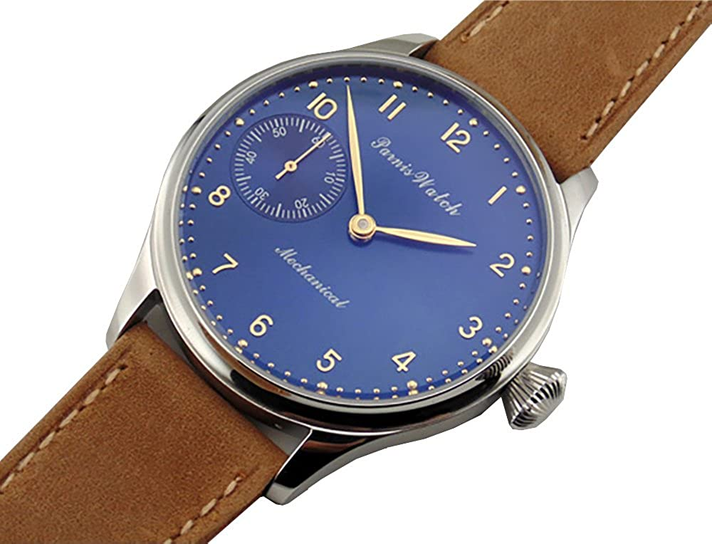 Parnis 44 mm BigブルーDial Mechanical 6497 Seagull Hand Winding Mens Watch 1556 B01KDNL0TI