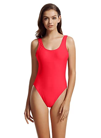 zeraca Damen Hoher Beinausschnitt Rückenfrei Bademode Schwimmanzug  Amazon. de  Bekleidung 932e07cedf