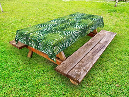 Ambesonne Leaf Outdoor Tablecloth, Tropical Exotic Banana Forest Palm Tree Leaves Watercolor Design Image, Decorative Washable Picnic Table Cloth, 58 X 84 inches, Pale Green and Dark Green by Ambesonne