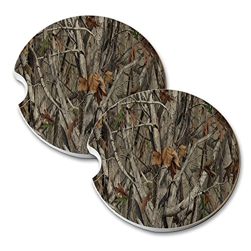 Trees Camouflage - Car Cup Holder Natural Stone Drink Coaster (Camouflage Stone)