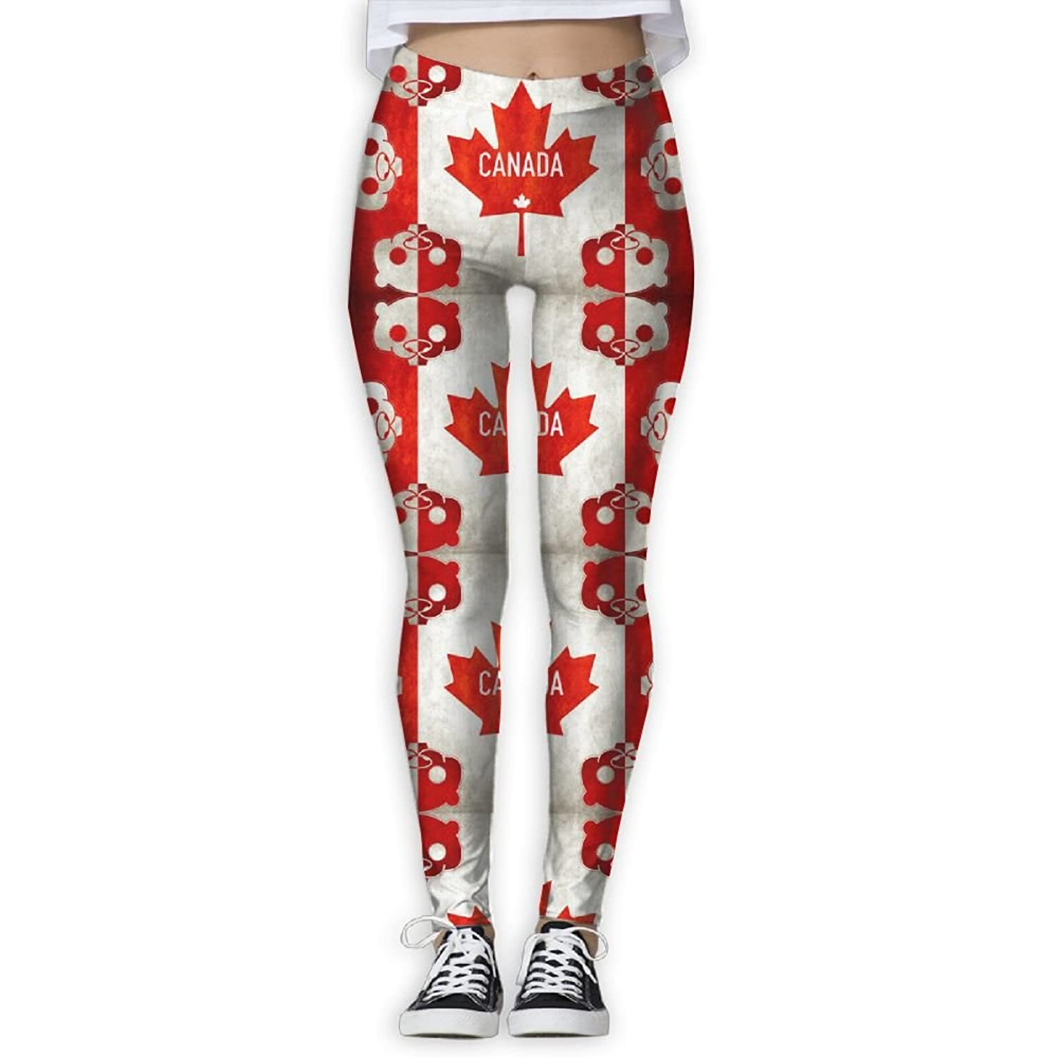 Jhwj Ku Womens Yoga Pants Moose And Canadian Flag Tummy Control Workout Leggings Pants Activewear Women Clothing Accessories