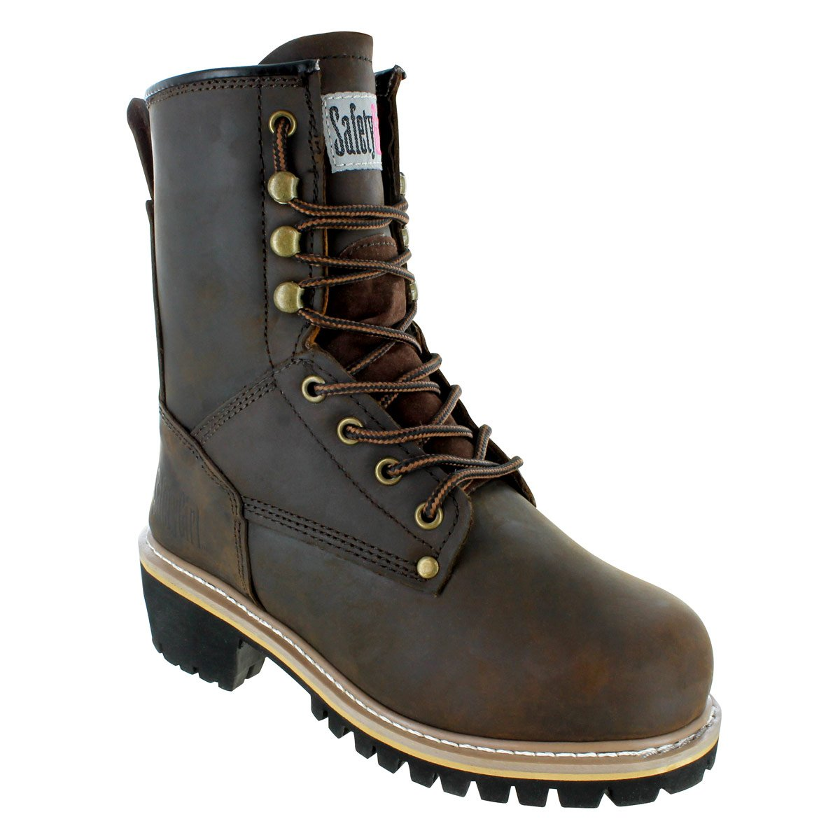 Safety Girl GS009-BRN-FT-8 Safety Girl Women's 8'' Logger Boot - Soft Toe 8, English, Capacity, Volume, Leather, 8, Brown ()