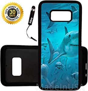 Custom Galaxy S8 Plus Case (Scary Shark Gang Group) Edge-to-Edge Rubber Black Cover Ultra Slim | Lightweight | Includes Stylus Pen by Innosub