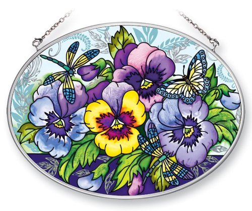 Amia 41369 Blue Pansies 7 by 5-1/2-Inch Oval Sun Catcher, Medium ()