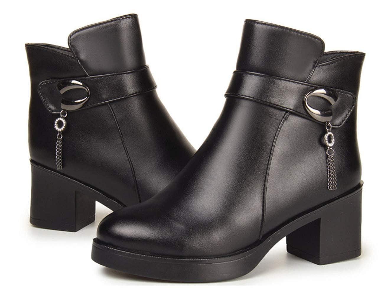 Shiney Damen Leder Stiefelies Plus Samt Samt Samt Baumwolle Schuhe Wolle Stiefel Chunky Heel d1307f
