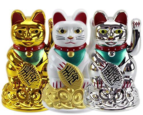 3Stk. Glückskatze ~ Winkekatze Maneki Neko ~ WEISS - GOLD - SILBER ~ im Set 11 cm