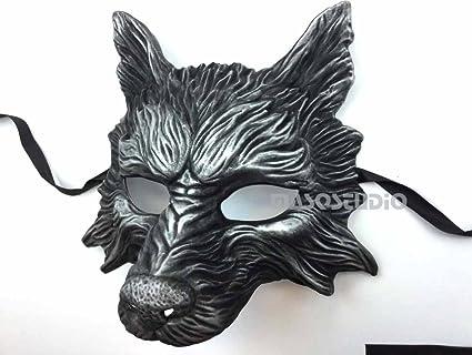Black Silver Wolf Mask Animal Masquerade Halloween Costume Cosplay Party mask  sc 1 st  Amazon.com & Amazon.com: Black Silver Wolf Mask Animal Masquerade Halloween ...