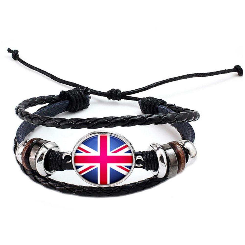TOOGOO World Cup 2018 National Flags Charm Bracelet Bangles Leather Braided Rope Bracelet Beads Wristband Cuff Women Men Gift B1216-United Kingdom