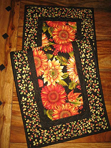 Orange Gold Fall Sunflowers and Leaves Quilted Table Runner, Autumn Decor 14x48