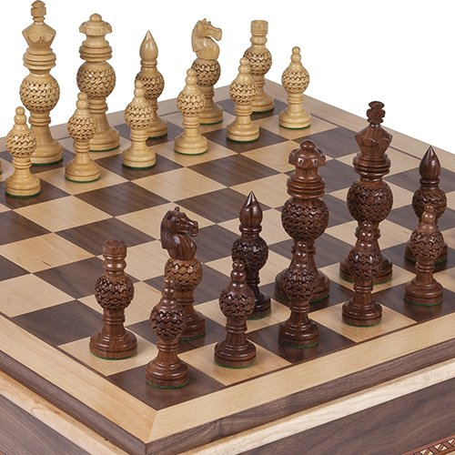 Monaco Deluxe Chessmen & Battery Park Wooden Chess Board with Storage