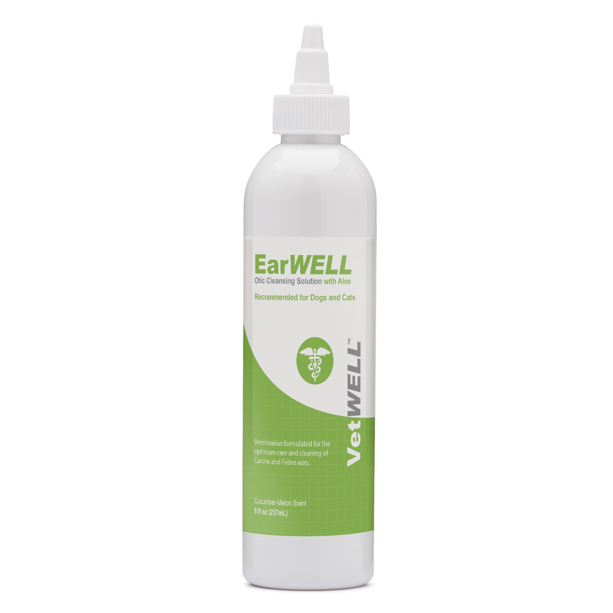 VetWELL Ear Cleaner for Dogs and Cats - Otic Rinse for Infections and Controlling Yeast, Mites and Odor in Pets - 8 oz (Cucumber Melon) by VetWELL