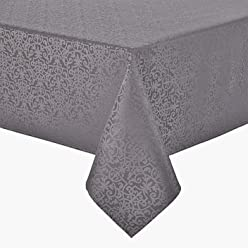 Royal Velvet Water Repellent Vienna Tablecloth, Silver, ...