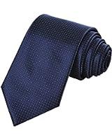 Coxeer Microfiber Men's Ties Necktie Classic Dot Tie for Wedding Formal Wear Business Dress (Check Navy Dark Blue)