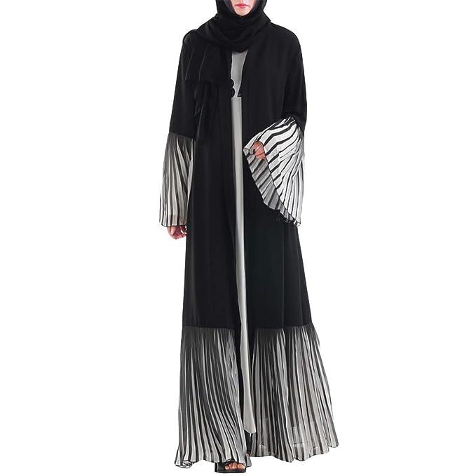 Patchwork de Rayas musulmán Cardigan Maxi Abrigo Acampanado Manga Larga Mujeres Outwear: Amazon.es: Ropa y accesorios