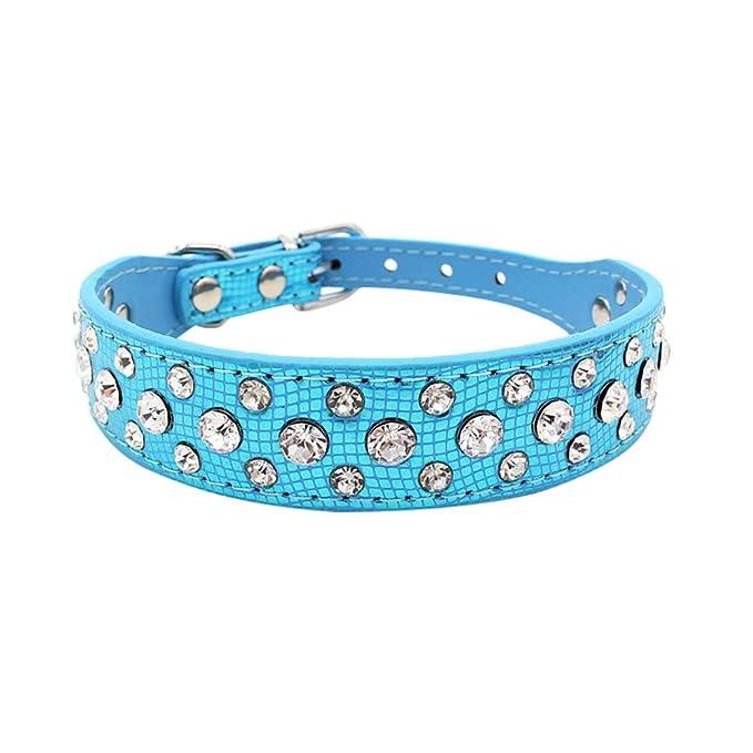 Accesorios para Mascotas, ♥ ♥ Zolimx Collar de Perro de Cuero PU Collares de Diamantes de Imitación para Perro Pequeño Cachorro Animal Collar de Gato ...