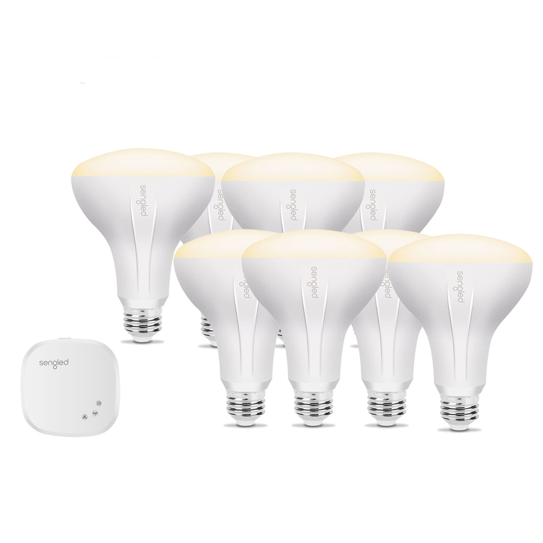 Sengled Element BR30 Smart Bulb Starter Kit (8 Bulbs + Hub) - 60W Equivalent Soft White (2700K) Smart Flood Light Bulbs (Compatible with Amazon Alexa, Google Assistant, Samsung SmartThings and Wink) by Sengled (Image #1)
