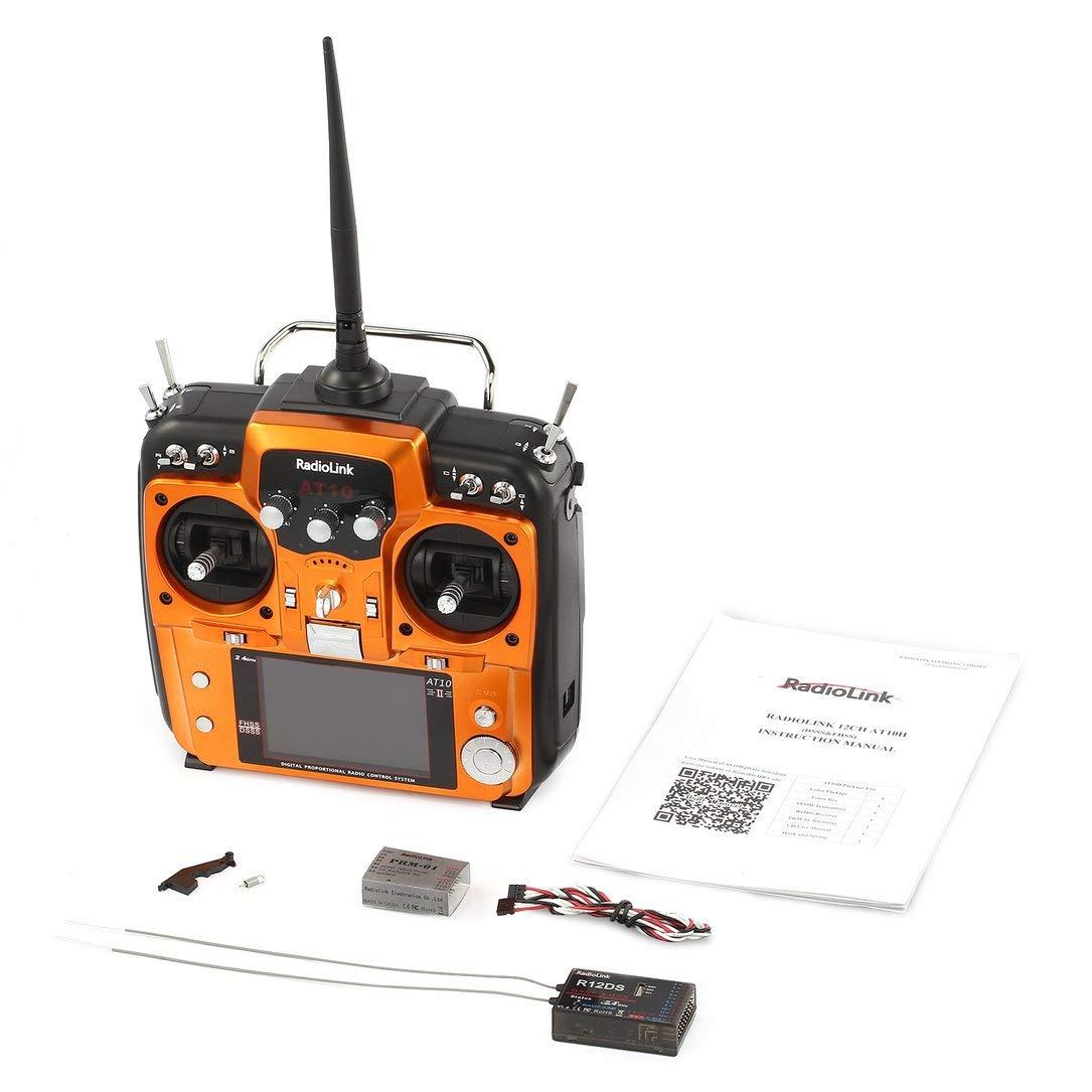 Funkverbindung AT10II 2.4G 12CH Transmitter Transmitter Transmitter Fernbedienung mit R12DS Empfänger RPM-01 Spannung Return-Modul für RC Drone Quadcopter Orange e9cb9d