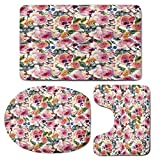 3 Piece Bath Mat Rug Set,Shabby-Chic-Decor,Bathroom Non-Slip Floor Mat,Country-Design-with-Flowers-Florals-Roses-Orchids-Buds-Romantic-Print,Pedestal Rug + Lid Toilet Cover + Bath Mat,Multicolor