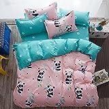 "KFZ Bed Set Bedding Set Duvet Cover Set Without Comforter Flat Sheet Pillow Cases Twin 59""x79"" Pink Color China Panda Design Girls Kids"