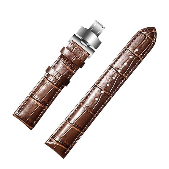 Correa de Reloj de Cuero marrón para Hombres y Mujeres de Repuesto 18 mm, 20 mm, 22 mm: Amazon.es: Relojes