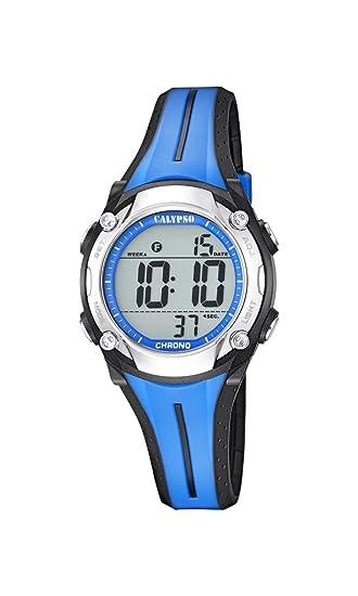 Calypso - Reloj Digital Unisex con LCD Pantalla Digital Esfera Azul y Correa de plástico K5682/1: Amazon.es: Relojes