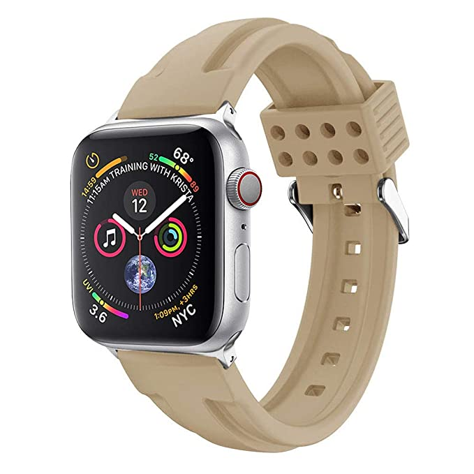 Amazon.com : XBKPLO Compatible for Apple Watch Series 4 Band 38mm 40mm DIY Sports Silicone Replacement Watch Strap Button Series 3/2/1 Women Retro Cuff ...