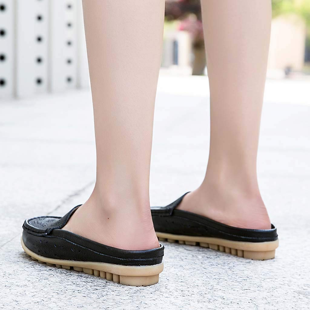✔ Hypothesis_X ☎ Womens Retro Backless Slip On Loafer Flats Pointed Toe Mules Low Heel Dress Slipper Shoes Black by ✔ Hypothesis_X ☎ Shoes (Image #5)