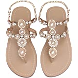 Mayou Women's Rhinestone Flat Sandals, Women Flip Flops with Beadeed Rhinestone Crystal Jeweled Sandal Shoes for Summer…